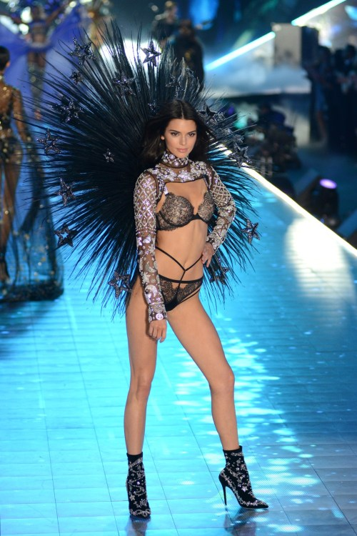 Kendall Jenner modeling at the Victorias's Secret Fashion Show 2018