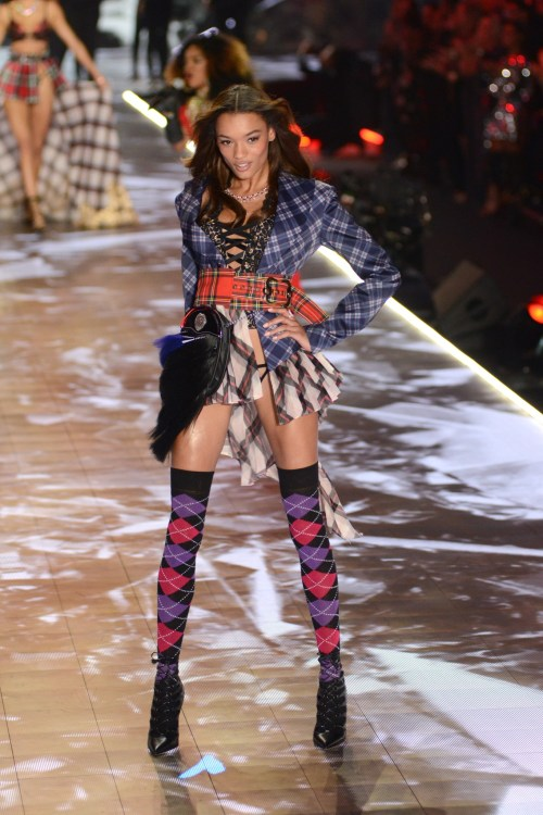 Lameka Fox modeling at the Victorias's Secret Fashion Show 2018