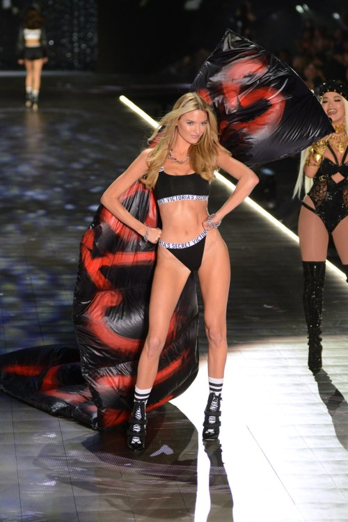 Martha Hunt modeling at the Victorias's Secret Fashion Show 2018