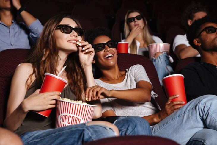 Two female friends at the movie theater