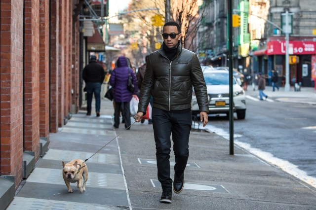 John Legend takes his french bulldog Pippa out for a walk in New York City Featuring: John Legend Where: New York City, New York, United States When: 04 Mar 2016 Credit: WENN.com