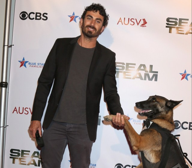 """""""Seal Team"""" Season 2 Premiere Screening at the American Legion Post 43 in Los Angeles, CA Featuring: Justin Melnick, Dita The Hair Missile Dog Where: Los Angeles, California, United States When: 25 Sep 2018 Credit: Nicky Nelson/WENN.com"""