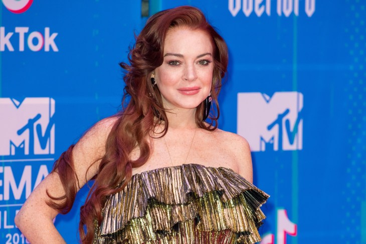 Lindsay Lohan at the 2018 MTV Europe Music Awards red carpet