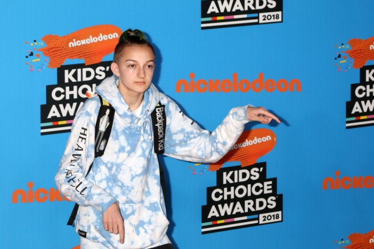 Russell Horning, the Backpack Kid, poses on the Nickelodeon Kid's Choice Awards carpet