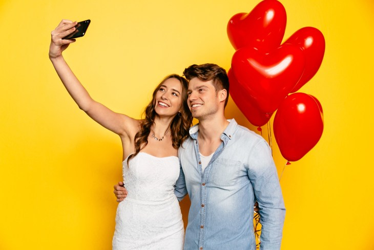 Students taking a selfie for Valentines Day