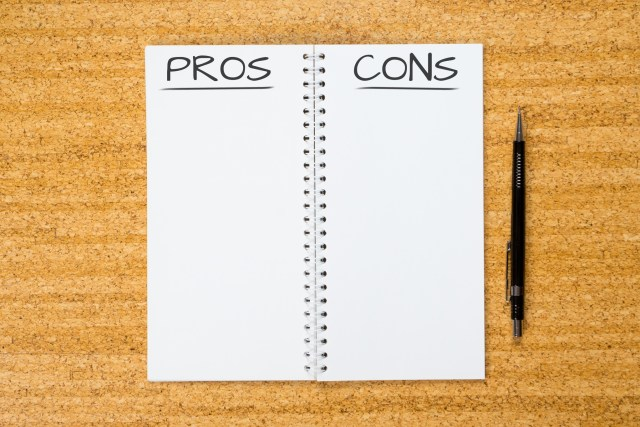 Blank 'pros and cons' list