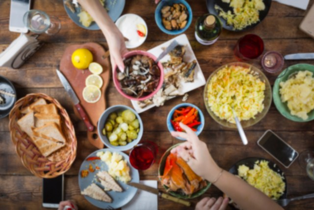 Spread of food on table for potluck