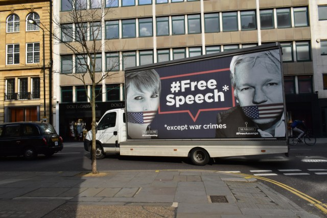 London/UK 0 - April 3 2019: The Big Wikileaks truck is now passing through the streets of London spreading awareness of the price of free speech. A gagged whistleblower Chelsea Manning & Julian Assange