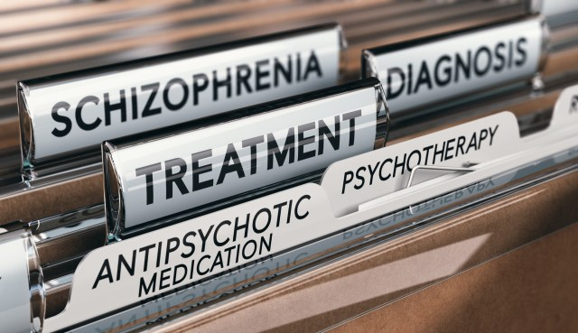 3D illustration of files with schizophrenia diagnosis and treatment with antipsychotic medication and psychotherapy. Mental health conditions concept.