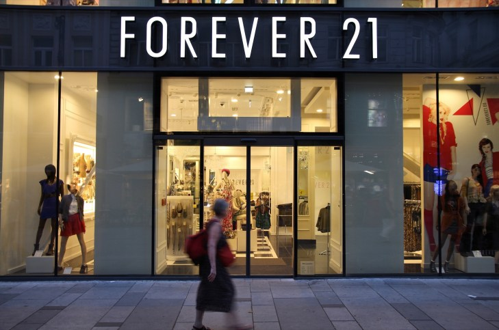 Forever 21 store front on a street