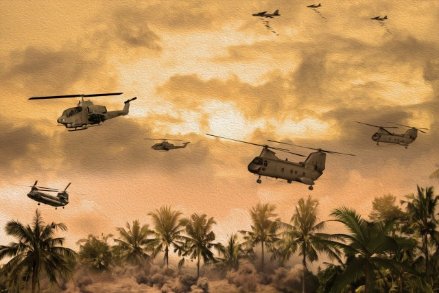 Old helicopters flying in Vietnam