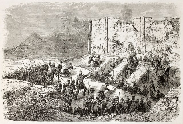 French intervention in Mexico: assault to Puebla prison by French army soldiers. Created by Gaildrau, published on L'Illustration, Paris, 1863