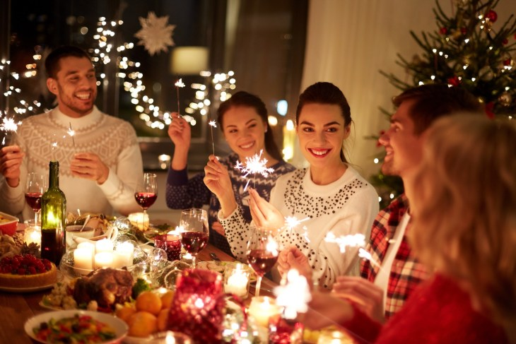 Friends at the holiday table