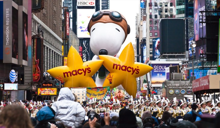 MANHATTAN - NOVEMBER 25 : cartoon character balloon passing Times Square at the Macy's Thanksgiving Day Parade November 25, 2010 in Manhattan. - Image