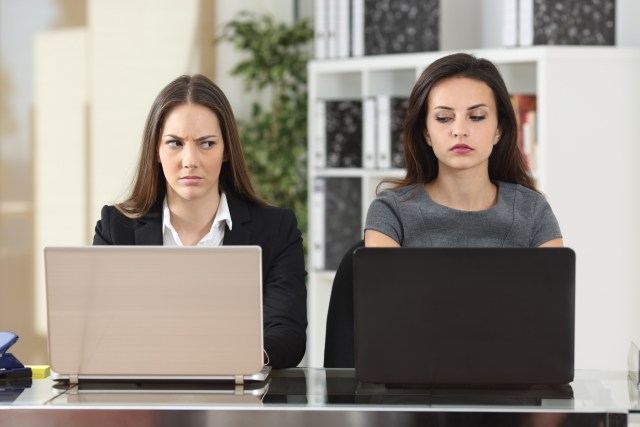 Front view of two angry businesswomen