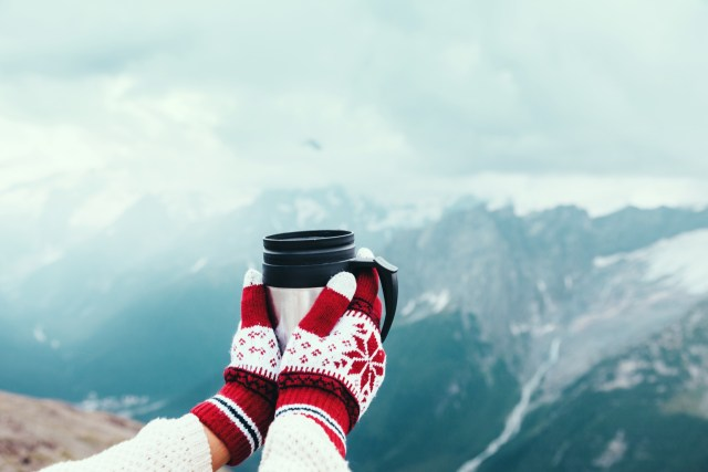 Closeup photo of thermos mug with tea in traveler's hand over out of focus mountains view with snow, tourism in cold season.