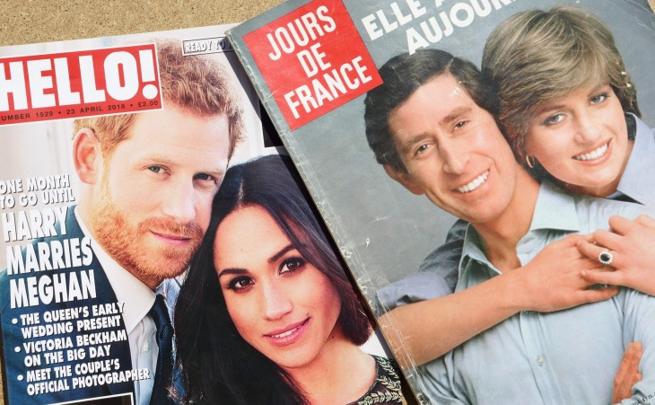 NEW YORK, US - OCTOBER 4, 2017. Magazine Jours De France with Princess Diana and prince Charles on cover and magazine Hello! witch prince Harry and Meghan on cover