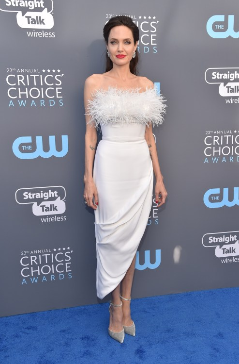 Angelina Jolie arrives for the 23rd Annual Critics' Choice Awards