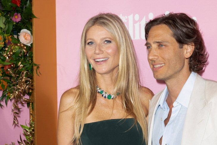 Gwyneth Paltrow with Brad Falchuk posing together on red carpet