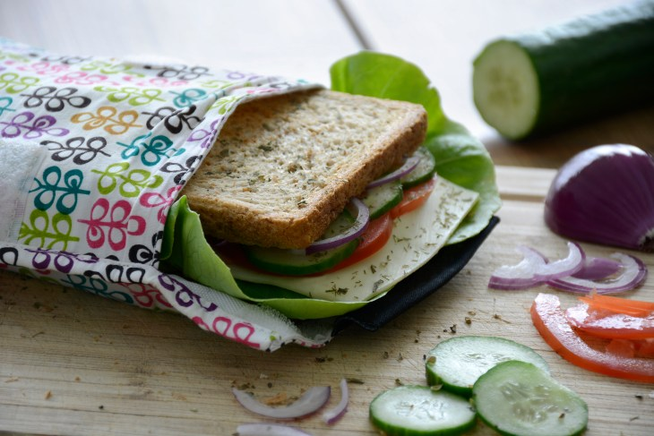 A sandwich inside a reusable bag with veggies surrounding it.