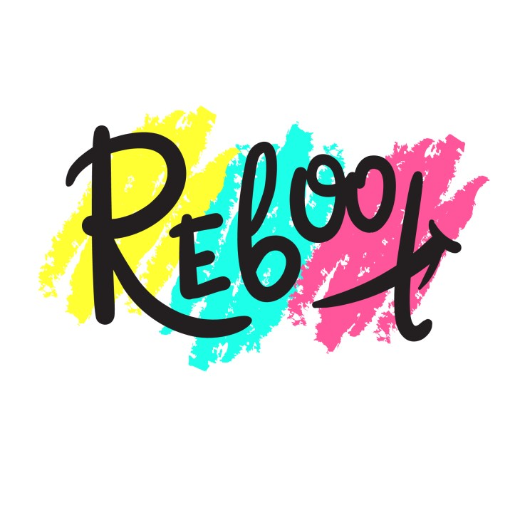The word reboot is spelled in a black fancy font with the background colors of bright yellow, light blue, and pink.