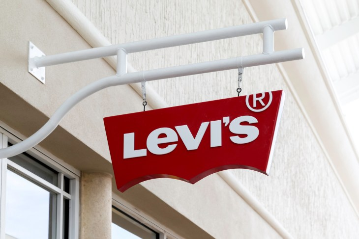 The Levi's sign outside of a store.