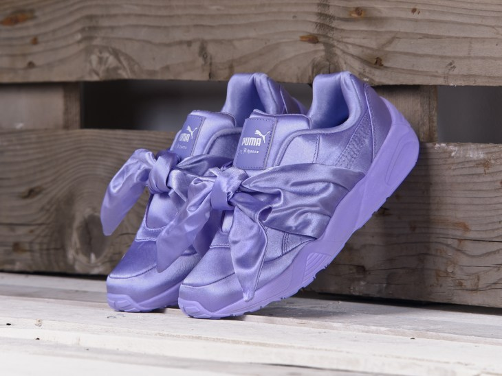 Purple Fenty x Puma sneakers with bow
