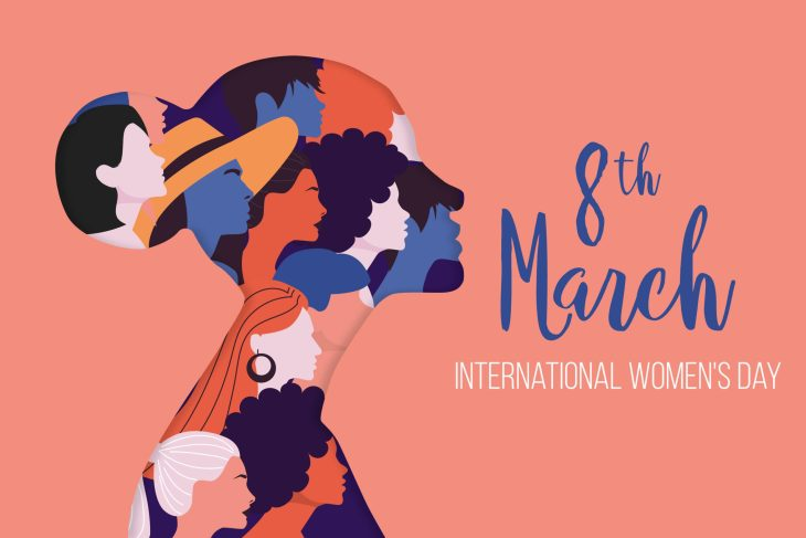 "A woman's profile filled with drawings of other women with text reading ""8th March International Women's Day"""
