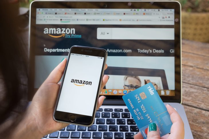 Online shopping on amazon and the amazon app on your phone