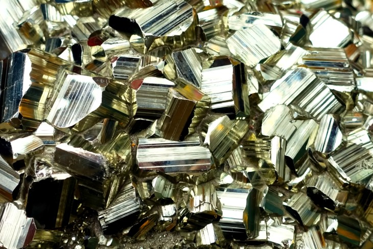 Pile of pieces of pyrite