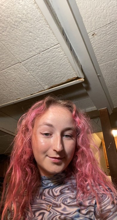 Pink Hair and blue swirly shirt