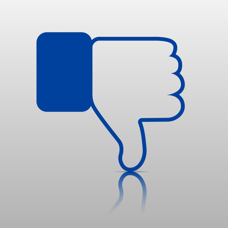 """Imagine of Facebook """"like"""" thumbs-up upside-down"""