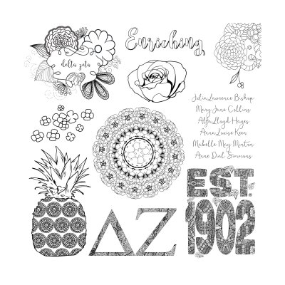 College Coloring Books Delta Zeta Coloring Page Preview