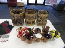 Jeanne's basket examples and basket weaving tools.