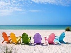 Colorful chairs on a beach