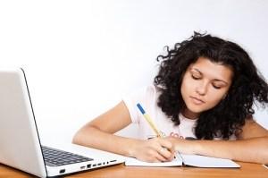 Female student writes
