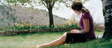 Student Studying Outside in May