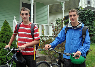 two high school students get organized for back to school