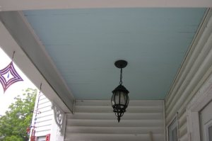 A typical haint blue porch ceiling. (Photo by Lake Lou)