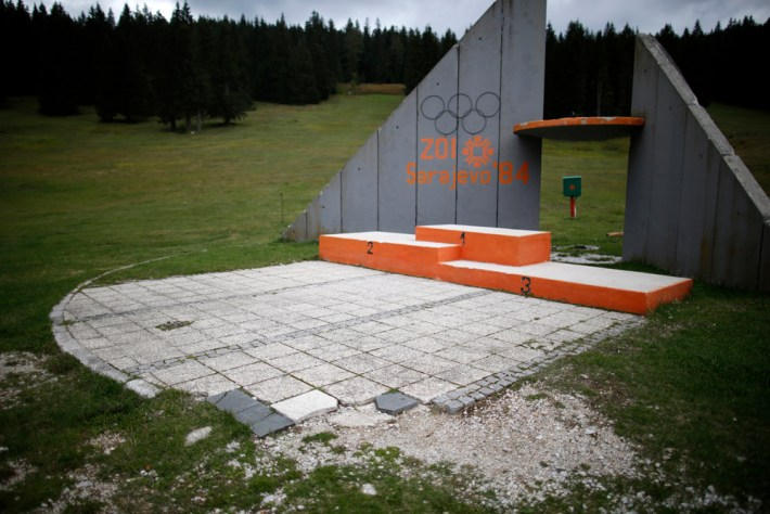 A view of the derelict medals podium at the disused ski jump from the Sarajevo 1984 Winter Olympics on Mount Igman, near Saravejo