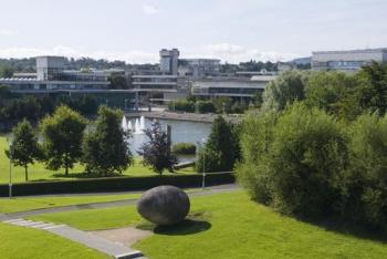 Views of Belfield campus and lake from the Veterinary Building woth 'Noah's Egg' by Rachel Joynt, sculpture in the foreground