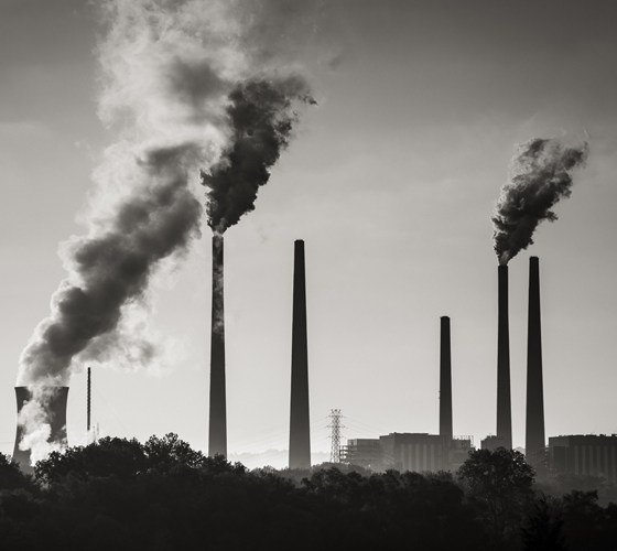 Climate Change B/W Power Station