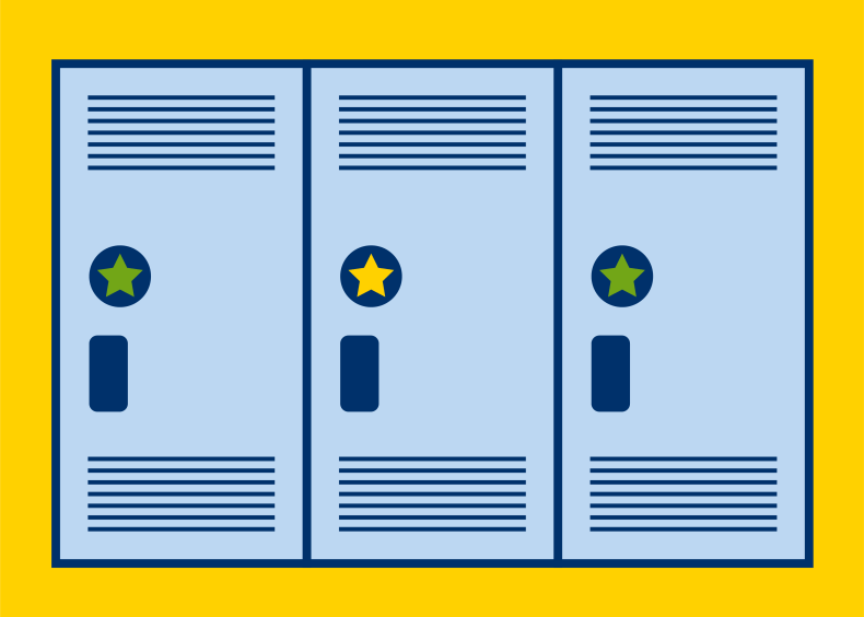 graphic illustration of blue lockers with yellow background
