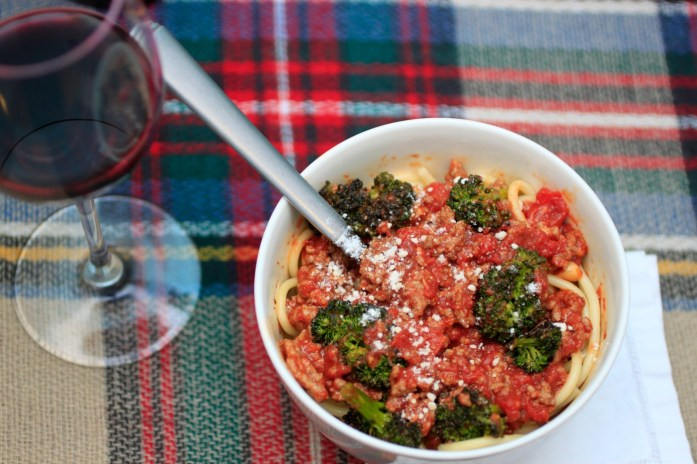 Delicious and easy roasted broccoli spaghetti with meat sauce (Photo: Nathan Davison)