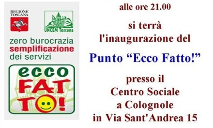 """""""ECCO FATTO!"""", L'INAUGURAZIONE MARTEDÌ 3 NOVEMBRE ALLE 21"""