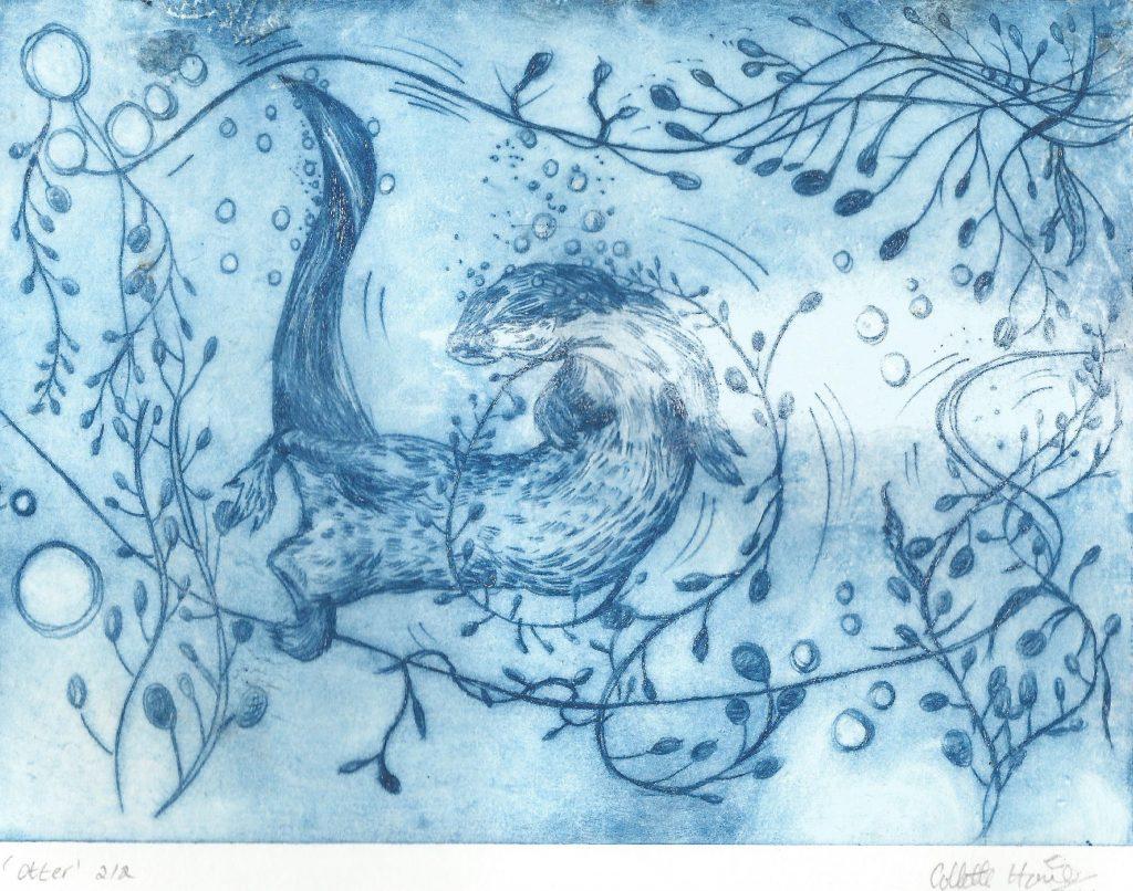drypoint otter art