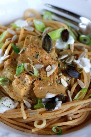 Vollkornspaghetti mit Austernpilzrahm © Liz Collet