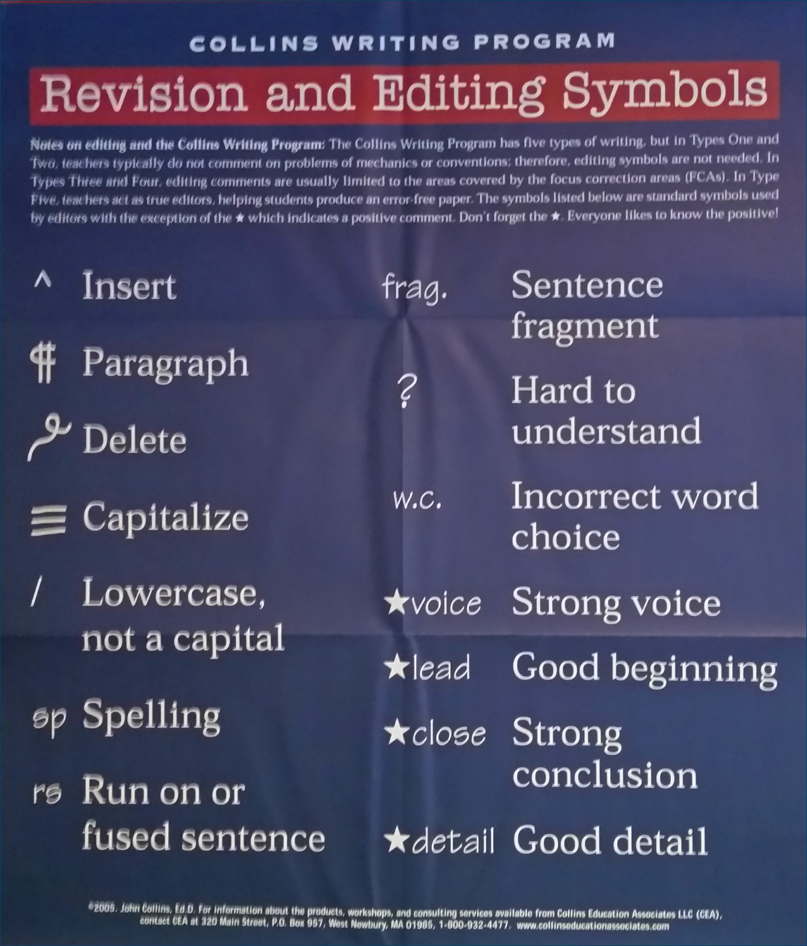 Revision Editing Symbols Poster Collins Education Associates