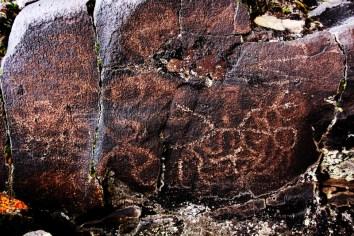 Over prints of petroglyphs