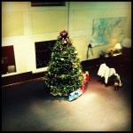 """Day 5: Looking Down. [Oops! It was really """"Looking Up"""" but I made a mistake,] My work's Christmas tree taken from above. It's way bigger than it looks."""
